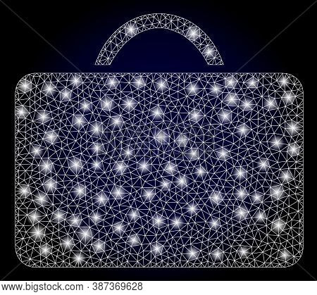 Bright Mesh Polygonal Case With Light Spots. Illuminated Vector Constellation Created From Case Icon
