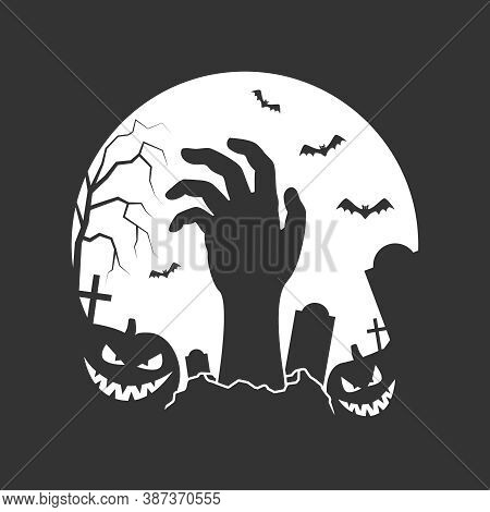 Halloween Graphic Poster. Halloween Banner On Graveyard With Tombstones, Hand Of Zombie, Smiling Pum