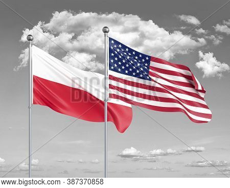 Two Realistic Flags. United States Of America Vs Poland. Thick Colored Silky Flags Of America And Po