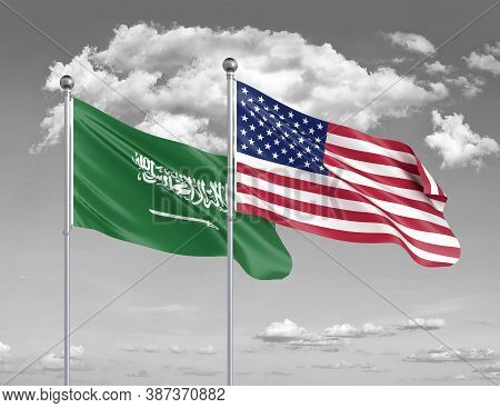 Two Realistic Flags. United States Of America Vs Saudi Arabia. Thick Colored Silky Flags Of America