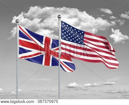 Two Realistic Flags. United States Of America Vs United Kingdom. Thick Colored Silky Flags Of Americ