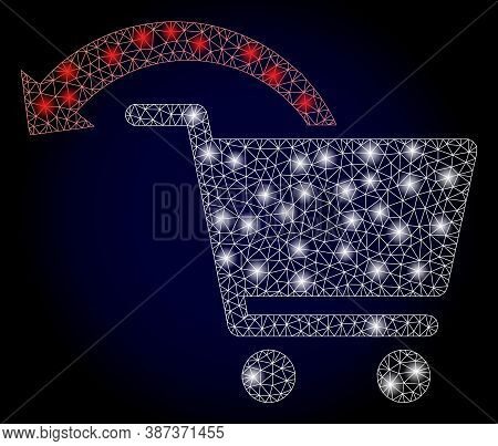 Bright Mesh Network Refund Shopping Order With Glowing Spots. Illuminated Vector Constellation Creat