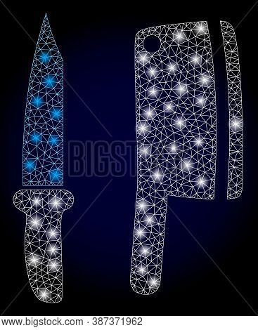 Bright Mesh Polygonal Butchery Knives With Light Spots. Illuminated Vector Constellation Created Fro