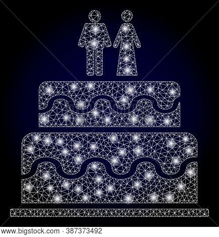Shiny Mesh Polygonal Marriage Cake With Light Spots. Illuminated Vector Constellation Created From M