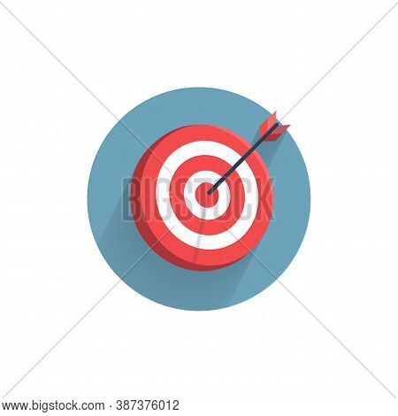 Target Icon. Dart Board. Archery Board Colorful Flat Icon With Long Shadow. Dart Flat Icon