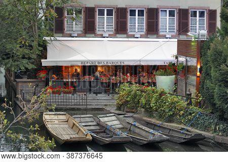 Colmar, France - October 07: Restaurant Winstub La Krutenau - Tourist Restaurant In A Prominent Loca