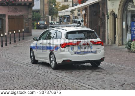 Colmar, France - October 08: The Municipal Police Patrols In The Historic Center Of Alsatian City Co