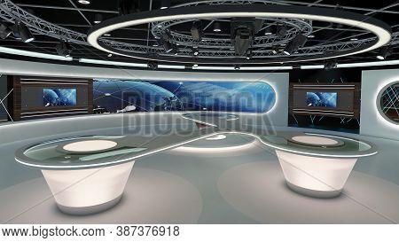 Virtual Tv Studio News Set 28. 3d Rendering. Virtual Set Studio For Chroma Footage. Wherever You Wan