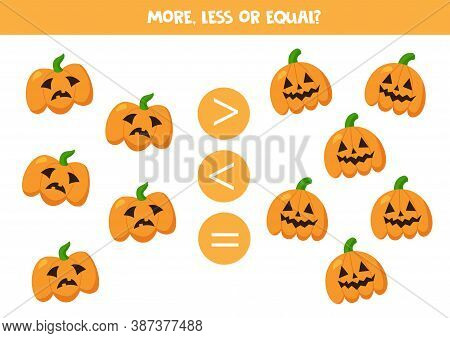 More, Less, Equal With Spooky Halloween Pumpkins.