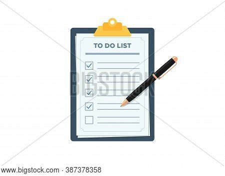 Clipboard With To Do Planning Check List. Pen Marked Checklist On Paper Todo Form Flat Eps Vector Il