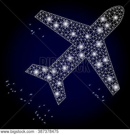 Glowing Mesh Network Flying Air Liner With Glowing Spots. Illuminated Vector Constellation Created F