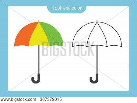 Look And Color. Coloring Page Outline Of Umbrella With Colored Example. Vector Illustration, Colorin