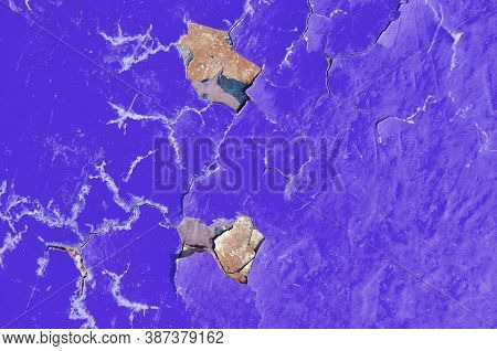 Peeling paint of purple color, texture background of peeling paint on the old concrete surface, texture of peeling paint, purple peeling paint texture, texture background, texture surface with peeling paint