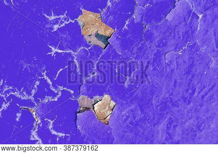 Peeling paint of purple color, texture background of peeling paint on the old concrete surface, texture of peeling paint, purple peeling paint texture, texture background, texture surface with peeling paint