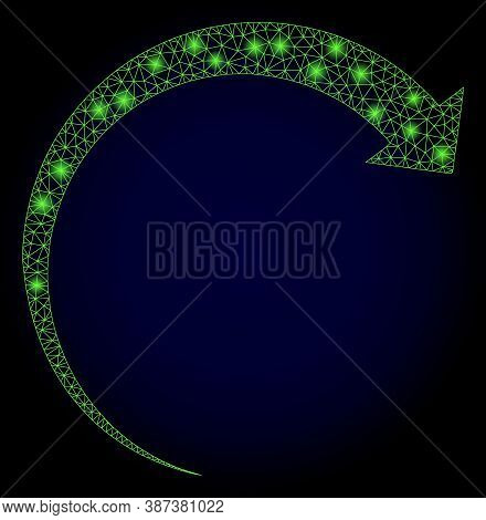 Glowing Mesh Network Rotate Forward With Glowing Spots. Illuminated Vector Constellation Created Fro
