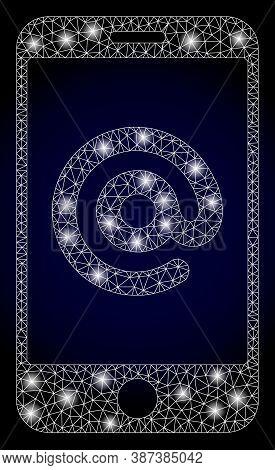 Glare Mesh Polygonal Smartphone Address With Lightspots. Illuminated Vector Constellation Created Fr