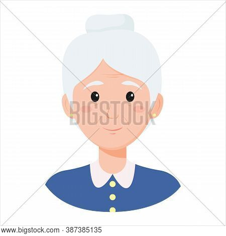 Old Lady, Grandmother Face. Old Woman, Retiree Avatar. Vector Illustration Isolated On White Backgro
