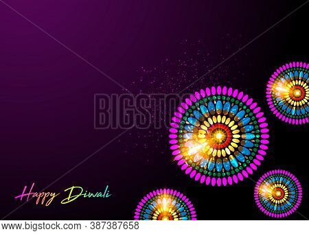 Creative Greeting Card Design For Happy Deepavali Festival Celebration On Decorative Background With
