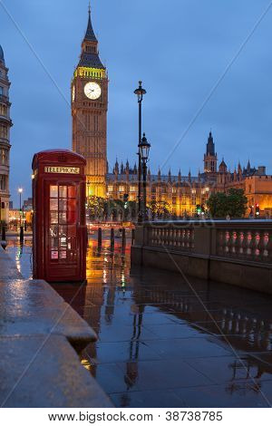 London Symbols: Telephone Box, Clock Big Ben Tower In Twilight