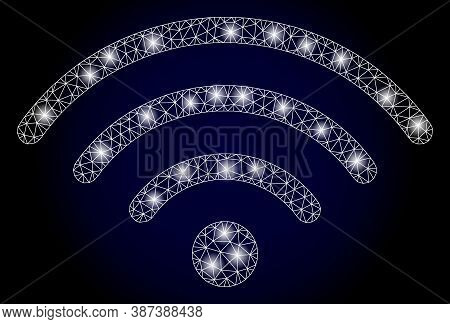 Shiny Mesh Polygonal Wi-fi Source With Glowing Spots. Illuminated Vector Model Created From Wi-fi So