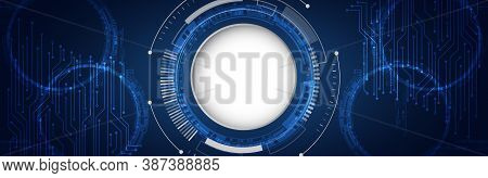 Electronic Motherboard. Wide Abstract Modern Futuristic, Technology Background. Hi Tech Digital Comm