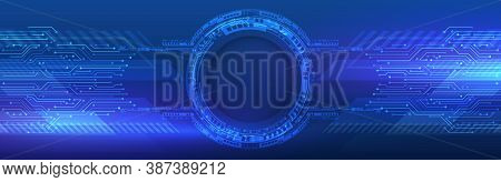 Digital Internet Communication On Blue Background. Abstract Global Sci Fi Concept. Wide Hi-tech Vect