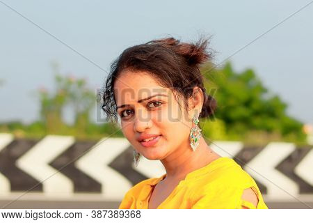 Asian Woman Portrait Beauty At Beach Background, Asian Woman Portrait Beauty, Asian Woman Portrait,