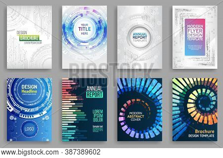 Set Of Science And Innovation Hi-tech Background. Flyer Design Of Tech Elements. Futuristic Business