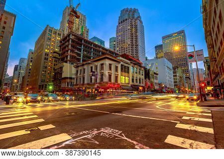 San Francisco, California, United States - August 15, 2019: Crossroad Of San Francisco Downtown By N