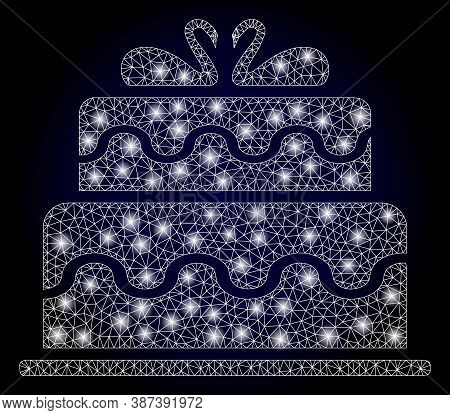 Glare Mesh Polygonal Marriage Cake With Glowing Spots. Illuminated Vector Constellation Created From