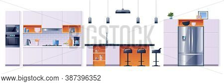 Kitchen Interior Fittings And Appliances, Vector Cartoon Set, Background. Modern Home Kitchen Furnit