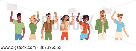 People On Protest Holding Placards And Banner Signs In Hands, Vector Flat Cartoon Icons. Angry Prote