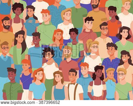 Group Of People Of Different Nationalities, Crowd Of Diverse Characters. Vector Multiethnic Society,