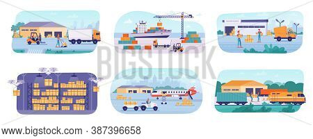 Delivery Logistics Process, Warehouse Storage And Parcels Shipping, Vector Flat Set. Warehouse Parce