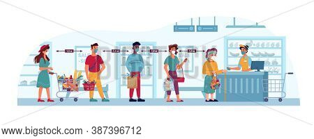 Store And People In Masks, Social Distance Queue In Grocery Supermarket, Shop, Vector Flat Cartoon C