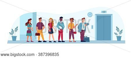 Queue To Elevator In Office, People Waiting In Line In Public Place, Vector Flat Illustration. Busin