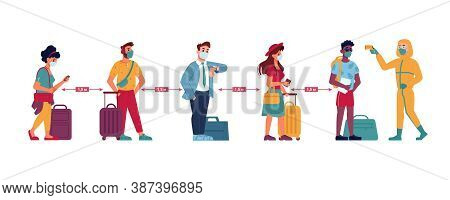 Temperature Check, Social Distance Queue Of People At Airport Line, Vector Flat. People With Travel
