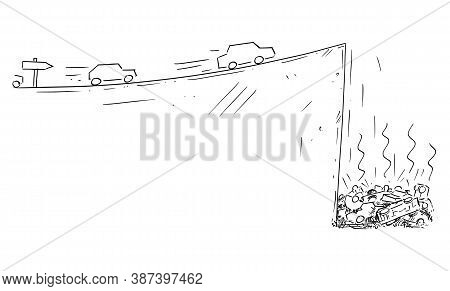 Vector Cartoon Drawing Conceptual Illustration Of Cars Moving Fast Following The Road Sign But Falli