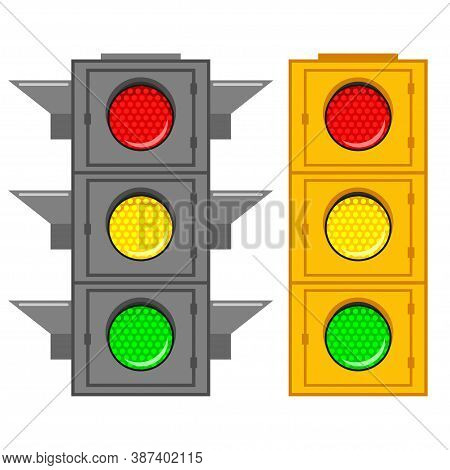 Road Traffic Light With Green, Red And Yellow Signal. Vector Cartoon Flat Icons Set Of Street Stopli
