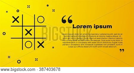 Black Tic Tac Toe Game Icon Isolated On Yellow Background. Vector