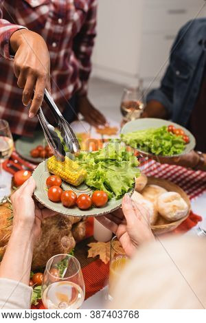 Partial Of Senior Woman Holding Plate With Corn, Lettuce And Cherry Tomatoes During Thanksgiving Din