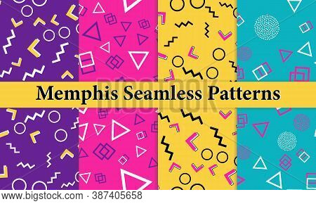 Set Of Memphis Seamless Pattern. Fun Background. Pink, Blue, Yellow Colors. Memphis Style Patterns.