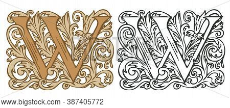 Initial Letter W With Vintage Baroque Decorations. Two Vector Uppercase Letters W In Beige And Black