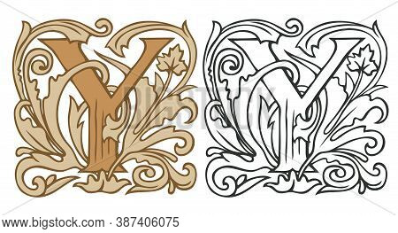 Initial Letter Y With Vintage Baroque Decorations. Two Vector Uppercase Letters Y In Beige And Black