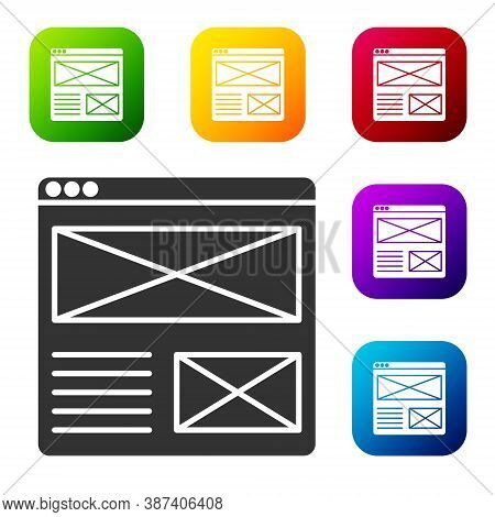 Black Browser Window Icon Isolated On White Background. Set Icons In Color Square Buttons. Vector
