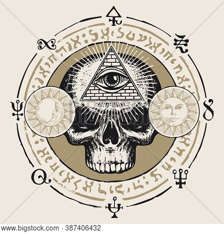Illustration With A Human Skull And An All-seeing Eye. Hand-drawn Vector Banner With Sun, Moon And C