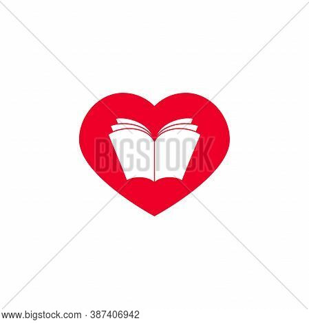Open Book With Pages In Red Hearts. Isolated On White Background. Bibliophile Flat Icon.