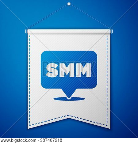 Blue Smm Icon Isolated On Blue Background. Social Media Marketing, Analysis, Advertising Strategy De