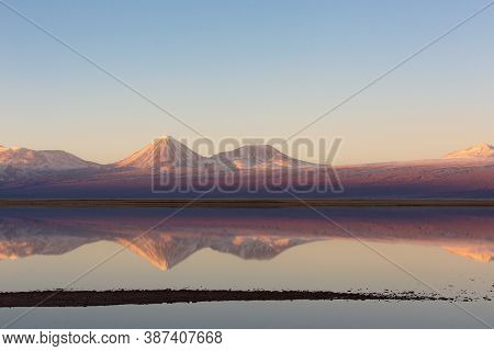 Beautiful Sunset Landscape View Of Licancabur Volcano In Andes Mountains In Atacama Desert, Chile