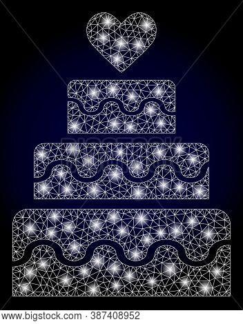 Shiny Mesh Net Marriage Cake With Light Spots. Illuminated Vector Model Created From Marriage Cake I